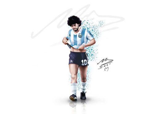 Diego Maradona Argentina Autographed Sketch